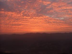 真っ赤な朝焼け画像