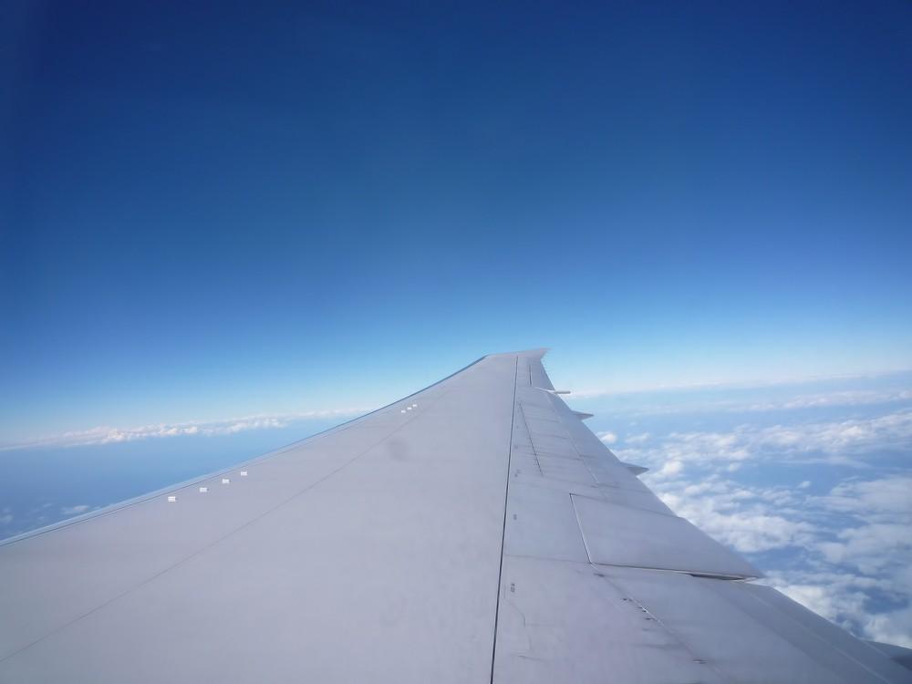 飛行機の羽と空の画像